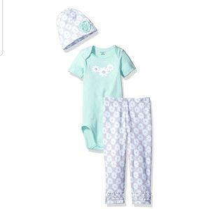 3 piece baby girl bodysuit cap and legging set